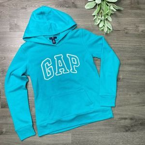 GAP | sz XS Teal Spell Out Logo Hooded Pullover
